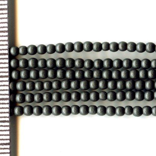 Hematite Black Frosted Round 2mm