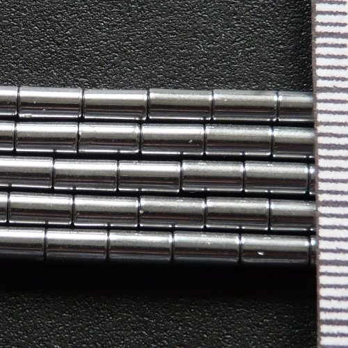 Hematite Electroplated Silver Tube 3x5mm