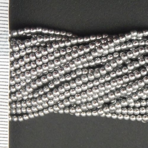 Hematite Electroplated Silver Round 2mm