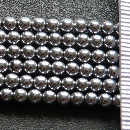 Hematite Electroplated Silver Round 3mm