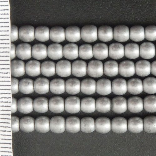 Hematite Electroplated Silver Frosted Round 4mm