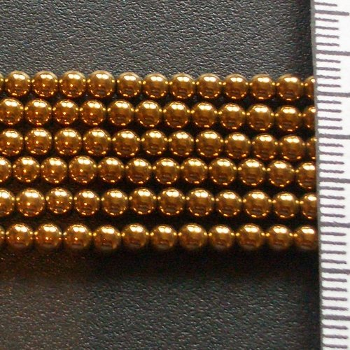 Hematite Electroplated Gold Round 3mm