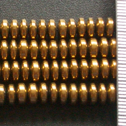 Hematite Electroplated Gold Roundel 6mm