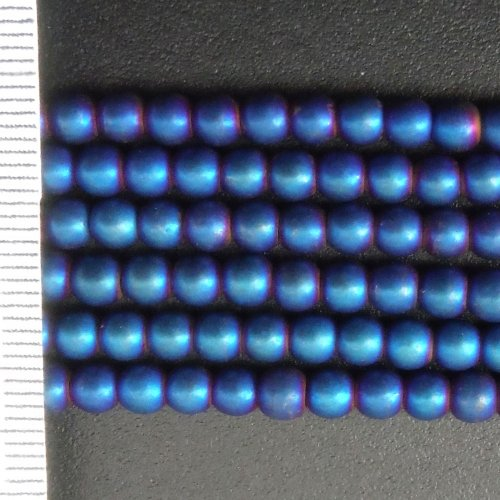 Hematite Electroplated Frosted Blue Round 4mm