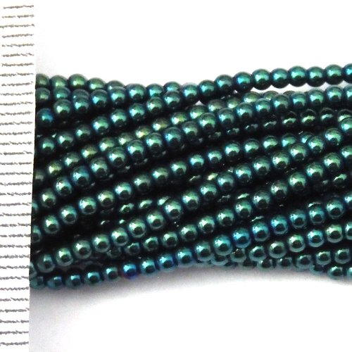 Hematite Electroplated Teal Round 2mm
