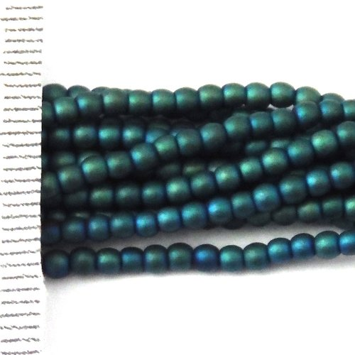 Hematite Electroplated Frosted Teal Round 2mm