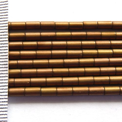 Hematite Electroplated Frosted Brown Tubes 3x5mm
