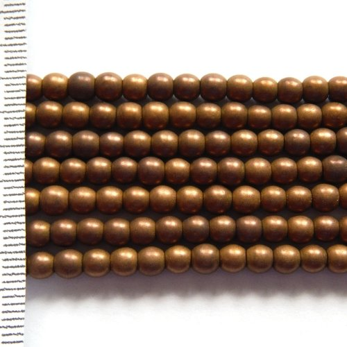 Hematite Electroplated Frosted Brown Round 4mm