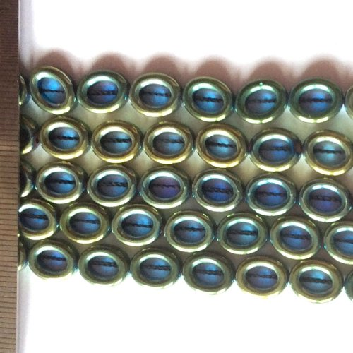 Hematite Electroplated Teal Oval 8x10mm