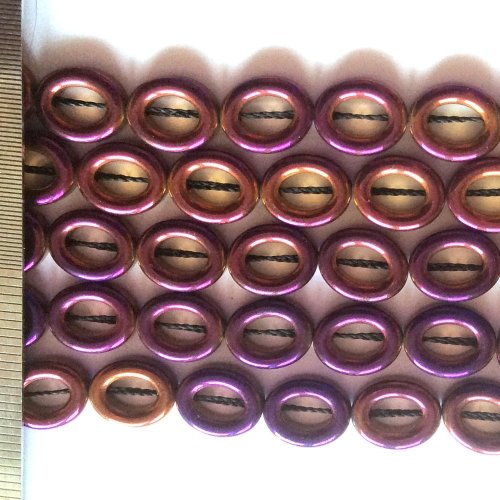 Hematite Electroplated Purple Gold Oval 8x10mm