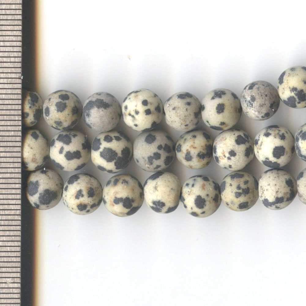 Dalmation Jasper Frosted Round 8mm
