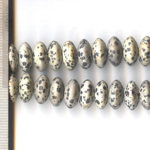 Dalmation Jasper Frosted Roundel 20mm