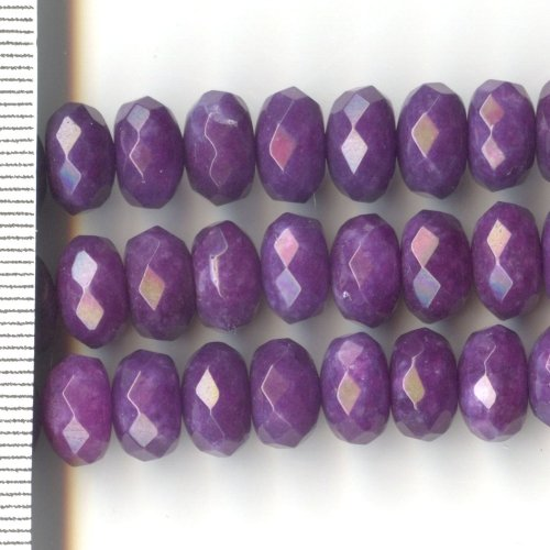 Kyanite Dyed Purple Faceted Roundels 6x10mm