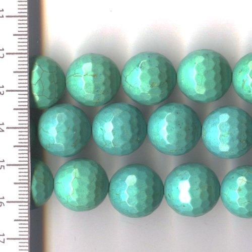 Magnesite Turquoise Faceted Round 16mm
