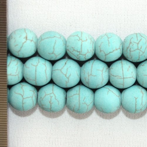 Magnesite Dyd Turquoise Frosted Round 12mm