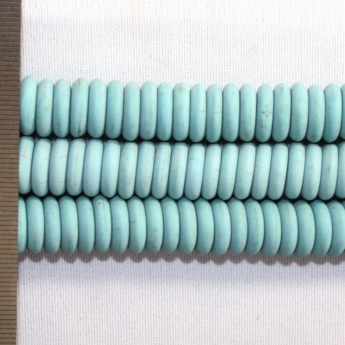 Magnesite Dyed Turquoise Frosted Roundel 3x12mm