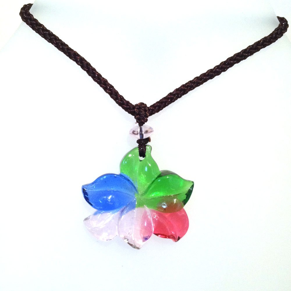 Liuli Crystal Flower Pendant with Adjustable Cord