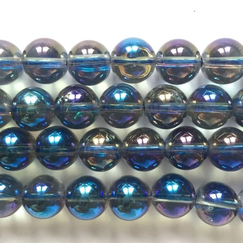 Rock Crystal Electroplated Blue & Purple Round 10mm
