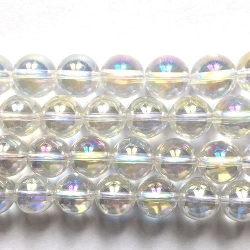Rock Crystal Electroplated Aurore Boreale Round 10mm