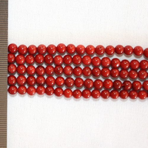 Sea Bamboo Dyed Red Round 4-5mm