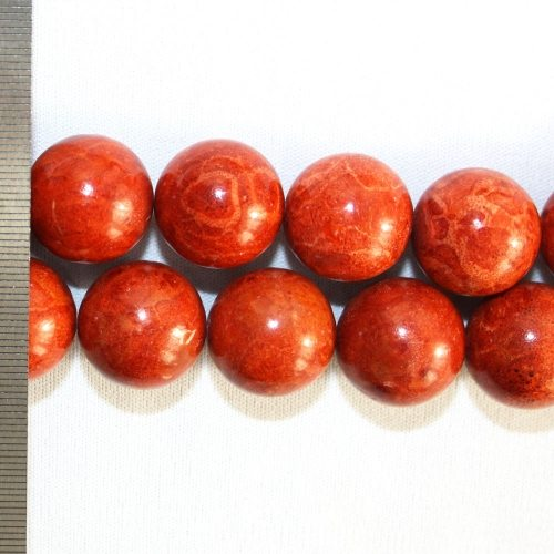 Sponge Coral Natural Red Round 20mm