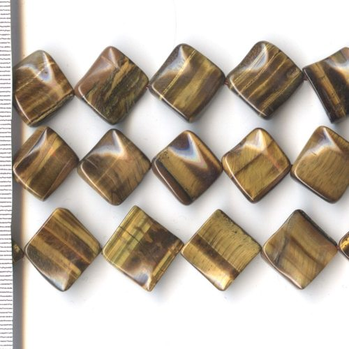 Tigers Eye Square with Wave 16mm