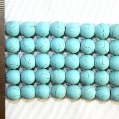 Magnesite Dyed Turquoise Frosted Round 8mm