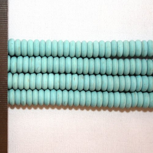 Magnesite Dyed Turquoise Frosted Roundel 3x8mm